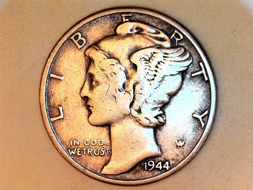 1944 P Mercury Dime--Very Fine