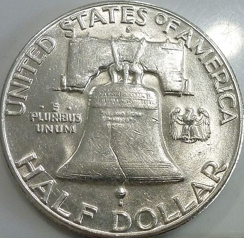 1953-S Uncirculated Franklin Half Dollar With Full Bell Lines (V-533)
