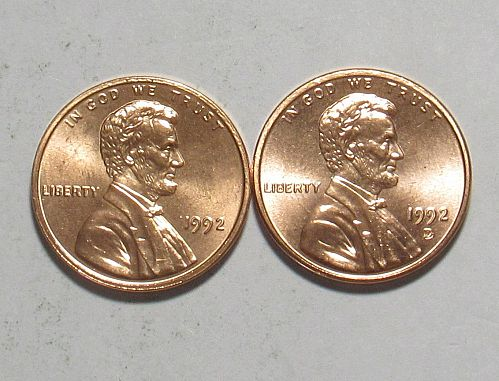 1992 P&D Lincoln Memorial Cents Red BU