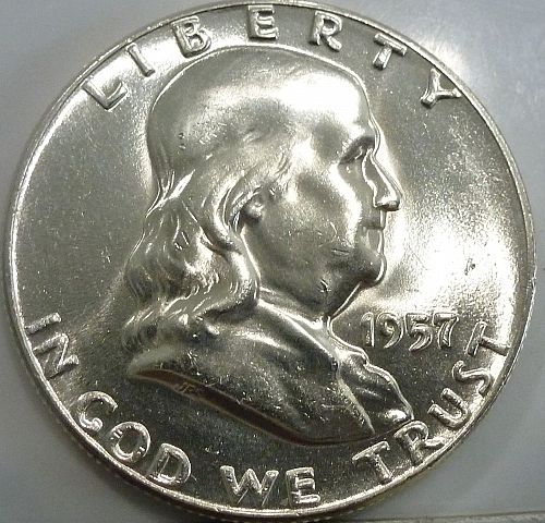 1957-P Gem BU Franklin Half Dollar With Full Bell Lines ( 2533)