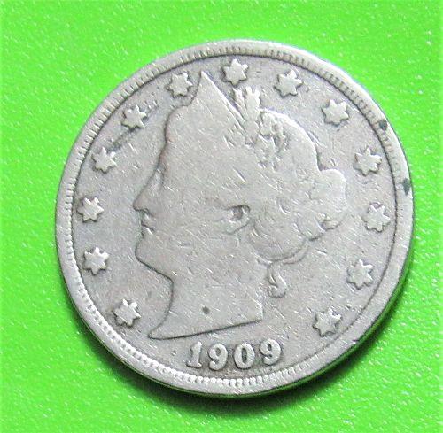 """1909 5 Cents - Liberty """"V"""" Nickel"""