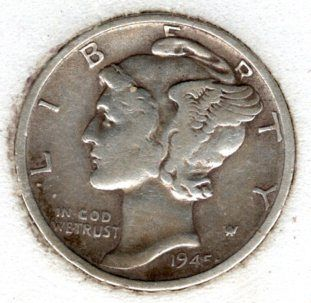 1945 s BU Mercury Dime - #7f15