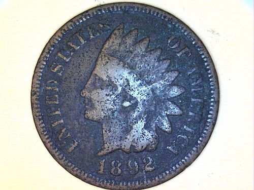 1892 Indian Head Cent---Fine Details, corrosion