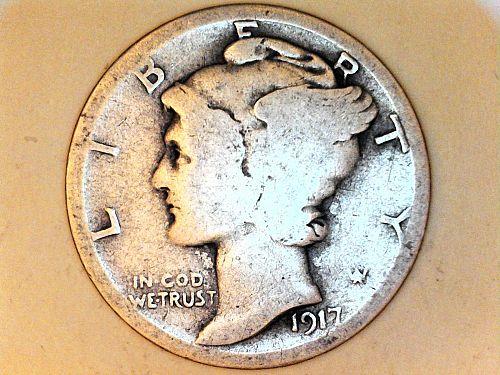 1917 P Mercury Dime--About Good