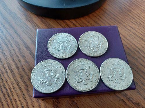 Set of 5 Kennedy Half Dollars. 1964-1967