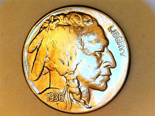 1936 S Buffalo Nickel---Extra Fine, dipped