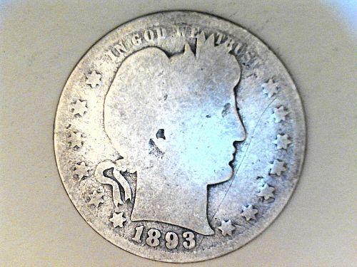 1893 P Barber Quarter--AG