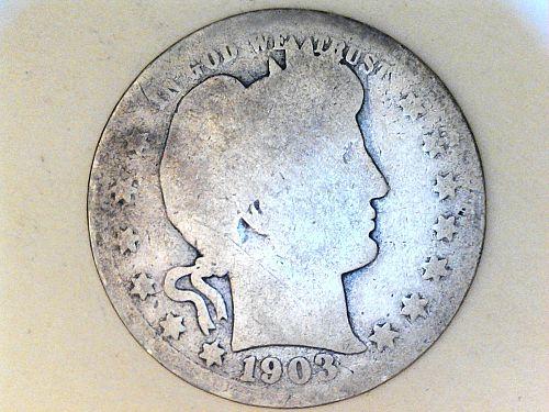1903 P Barber Quarter--AG