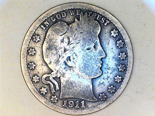 1911 P Barber Quarter--G-VG