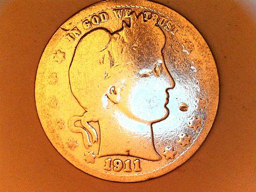 1911 D Barber Quarter (Better Date)--Good Details, cleaned and polished