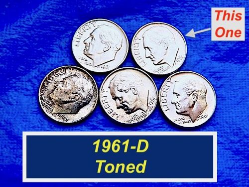 Uncirculated ☆ 1961-D Dime ☆ Roll Toned Obverse ☆  (3272)