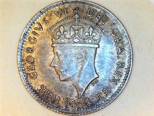 1943 C Newfoundland 5 Cents--92.5% Silver