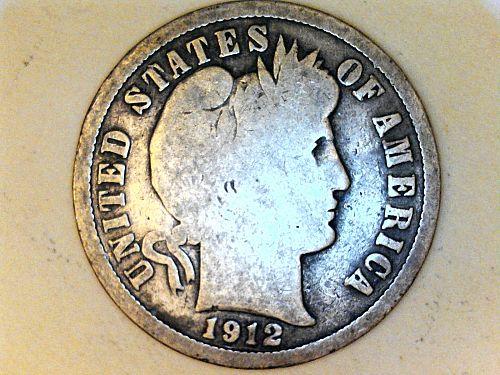 1912 P Barber Dime--Good-Very Good
