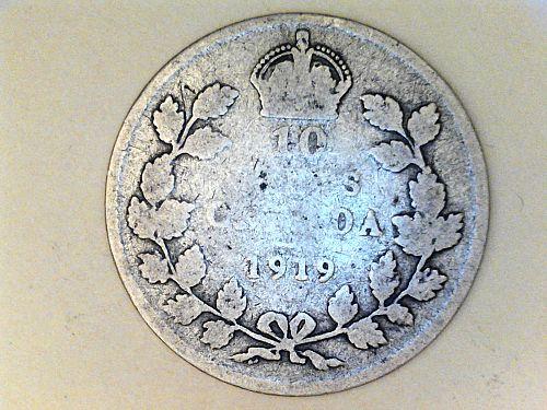 1919 Canada 10 Cents--92.5% Silver