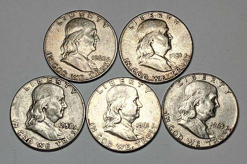 5 Different Dates Franklin Silver Half Dollars Circ - 180998S
