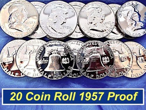 1957 PROOF  Roll  ⭐️ Great Luter & Eye Appeal ⭐️  (R1165)