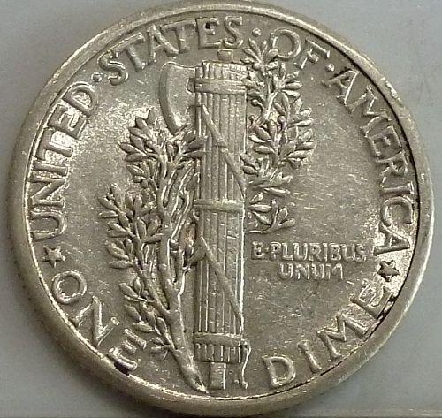 1934-P About Uncirculated Mercury Dime AU  ( 375)