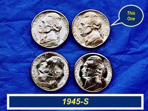 """""""BU"""" 1945-S SILVER War Nickel ⭐️ """"UNC""""  ⭐️ (6888aUR)"""