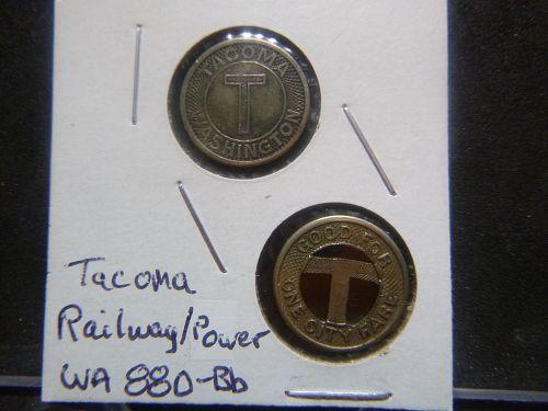 (2) Tacoma, Washington RAILWAY & POWER One Fare Transit Token