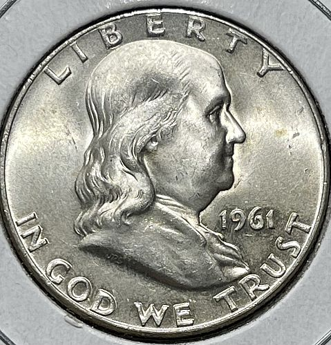 1961-D High Grade Uncirculated MS60+ Franklin US Silver Half Dollar