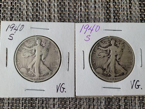 ONE (1) 1940-S Walking Liberty Half Dollar