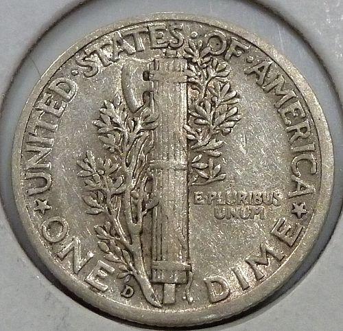 1937 D EXTRA FINE Mercury Dime XF ( 499 )