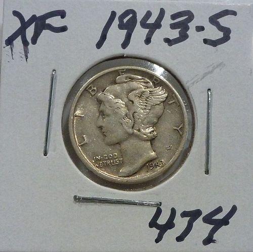 1943-S EXTRA FINE Mercury Dime XF ( 474 )