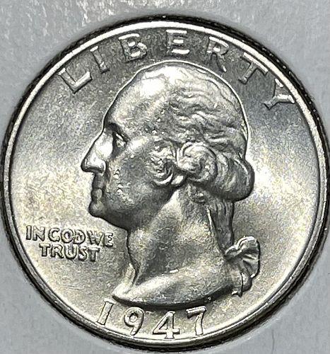 1947-P High Grade BU Washington US Silver Quarter