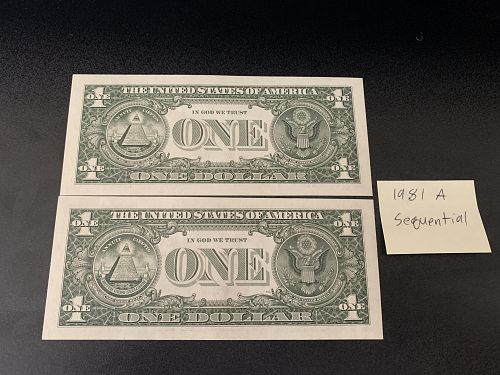 1981 Sequential 1$ us bill