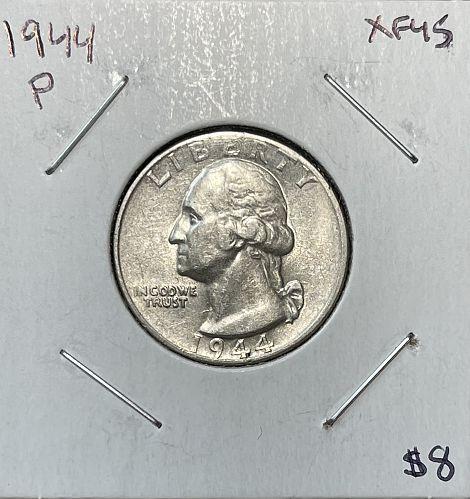 1944-P High Grade Washington US Silver Quarter