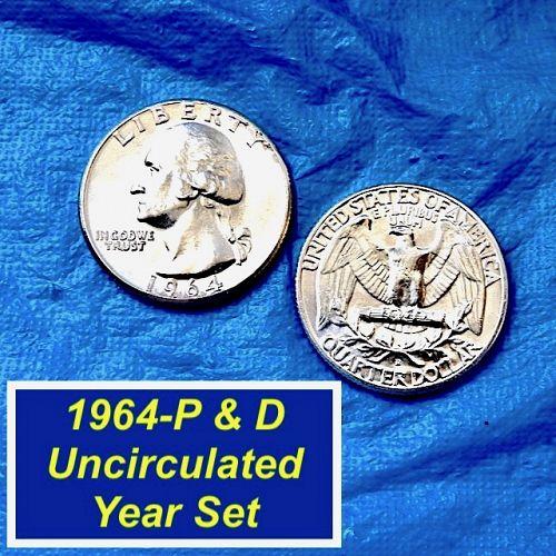 1964-P&D Year-Set 25¢ ⭐️ UNC ⭐️ 2 UNC Silver Washingtons ⭐️ (2849)