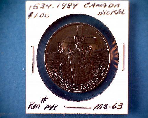 "1534 - 1984 CANADA ONE DOLLAR  QUEEN ELIZABETH11  ""JACQUES CARTIER"""