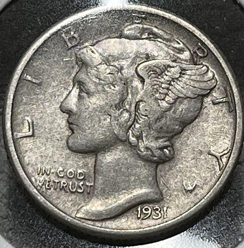 1931-P High Grade Circulated F/VF Mercury US Silver Dime