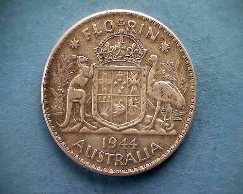 "1944 (m) AUSTRALIA FLORIN KING GEORGE V1  ""SILVER"""