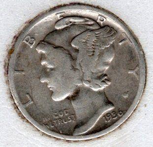 1936 p Mercury Dime -#9f15