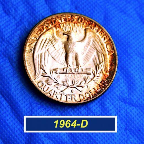 "1964-D ""BU""  Quarter ⭐️ End-of-Roll Toned Obverse ⭐️ (0022)"