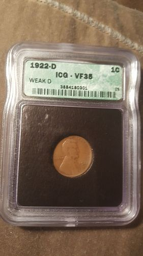 1922 D ICG VF35  Weak D Lincoln Cent
