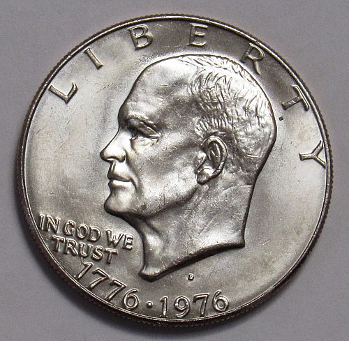 1976 D Eisenhower Dollar in BU condition: Type 1 - Low Relief - Bold Lettering