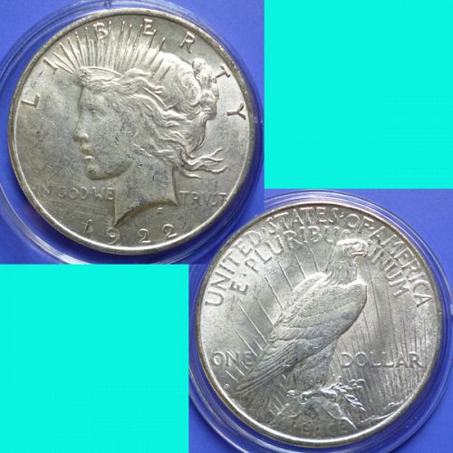 US USA United States of America Peace Dollar 1922  D km 150 Silver 0.7734 oz