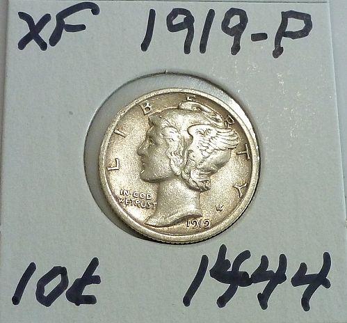 1919-P Extra Fine Mercury Dime   ( 1444)