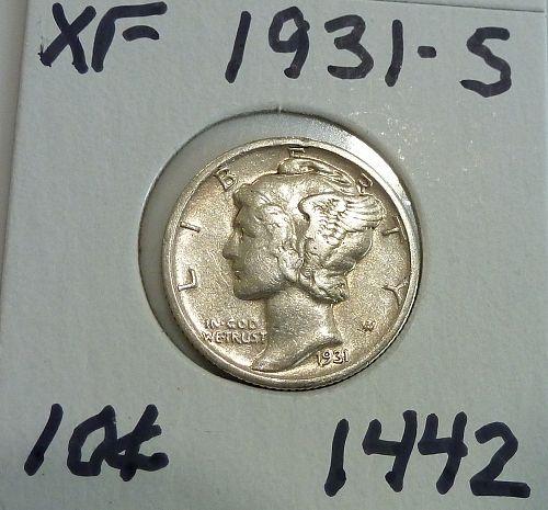 1931-S Extra Fine Mercury Dime   ( 1442)