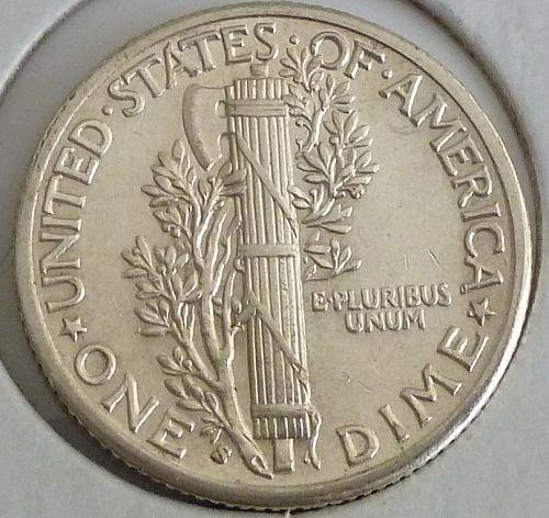 1936-S  AU  Mercury Dime ABOUT UNCIRCULATED ( 1431)