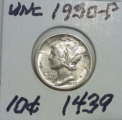 1930-P UNC  Mercury Dime Uncirculated ( 1439)
