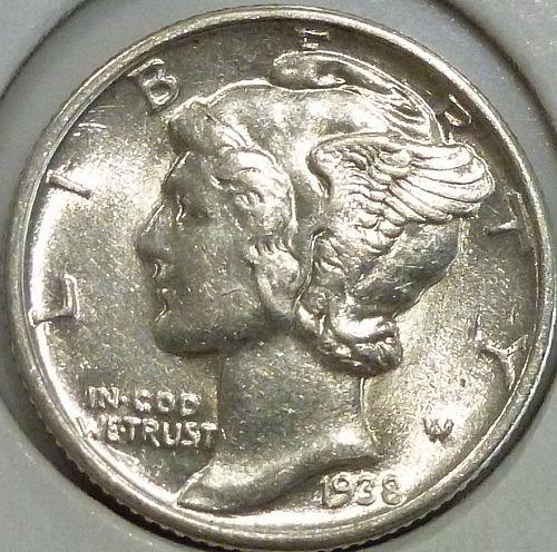 1938-P UNC  Mercury Dime Uncirculated ( 1422)