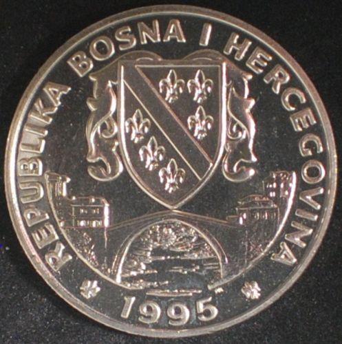 1995 Bosnia and Herzegovina 500 Dinara BU Przewalskii Horses