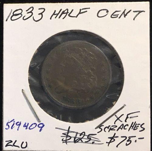 1833 Half Cent Classic Head