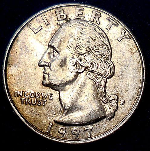1997-P Washington Quarter Spike Head Die Crack
