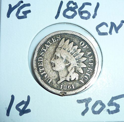 1861 Indian Cent Grades Very Good ( 705 )