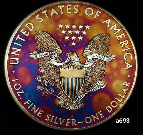 2014 Rainbow Toned Silver American Eagle 1 troy ounce silver Monster toned #a693