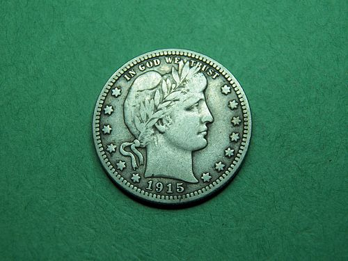 1915 P Barber Quarter Fine Coin z92